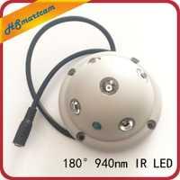 Nuevo Ultra gran angular IR 940nm luces invisibles 5 IR LED iluminador IR infrarrojo Luz de visión nocturna para cámara CCTV de seguridad