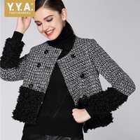 Marca 2019 nueva mujer chaqueta de Tweed empalmado doble Breasted señoras de la Oficina corto abrigo de otoño a cuadros chaqueta de las mujeres O cuello Streetwear