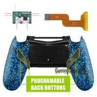 Kit de remapa de Amanecer azul texturizado para controlador profesional Delgado PS4 JDM 040/050/055 w/personalizado carcasa trasera y 4 botones traseros