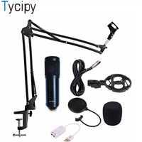 Tycipy micrófono BM-900 profesional de condensador Audio estudio Vocal Wired ordenador KTV Mic volumen ajustable con choque soporte