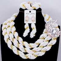 Bien Africana conjunto de joyas de collar de la boda conjunto de 3 capas joyas de oro blanco conjunto traje gargantilla India 2018