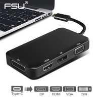 USB C a 4 K HDMI VGA adaptador Thunderbolt 3 estación de acoplamiento USB 3,1 tipo C a HDMI VGA DP adaptador DVI para MacBook Chromebook Pix
