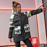 Chaqueta de invierno gruesa Casual abrigos con capucha chaqueta de invierno de mujeres lindo Patchwork Print mujer chaqueta de Harajuku negro