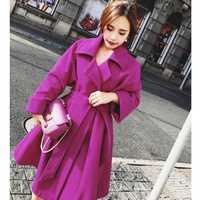 Vestido de estilo de invierno de lana de las mujeres abrigo cálido con cinturón chaqueta de lana para abrigos de Casimir europeo de moda de prendas de vestir exteriores
