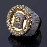 Micro incrustaciones nuevo diseño de moda oro Color zircon cristal anillos de boda joyería accesorios anillo de circón para las mujeres tamaño 8 -12