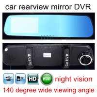 Coche DVR azul espejo de revisión grabadora de vídeo Digital Auto navegador registrador videocámara 4,3