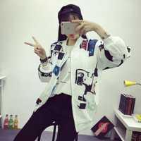 Kpop BIGBANG Corea del Sur ulzzang Quan Zhilong con la cabeza viento BF Harajuku graffiti letras béisbol abrigo y amantes-kpop GD