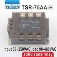 75AA TSR-75AA-H trifásica de alta tensión de tipo SSR entrada 80 ~ 250VAC carga 90-480VAC monofásico AC estado sólido relé