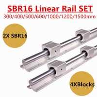 2 piezas SBR16 16mm lineal carril guía 300, 400, 500, 600, 1000, 1200, 1500mm plenamente diapositiva soporte + 4 piezas SBR16UU bloque de rodamientos lineales
