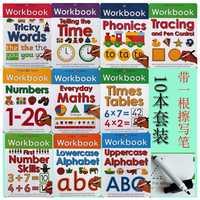 10 livres/ensemble essuyer propre classeur enfants enfants anglais livre d'images apprendre ABC Alphabet/temps/Maths/mots phoniques délicats
