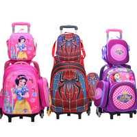 Wenjie frère enfants Mochilas enfants sacs d'école avec roue chariot bagages pour garçons filles sac à dos Mochila Infantil Bolsas