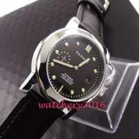 De 44mm Parins dial negro pulido de cristal de zafiro luminosa marcadores de la fecha movimiento automático de los hombres