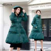 2019 chaqueta de invierno mujeres chaqueta Vintage mujer verde oscuro con capucha Parka cálida Parka larga gruesa de invierno de las mujeres abrigo tamaño