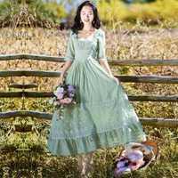 YOSIMI 2018 verano Vintage de algodón y encaje de mujer largo vestido túnica Chic de la pradera estilo verde vestido de las mujeres de piel de becerro de Fiesta de noche