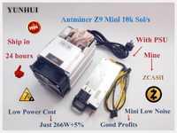 YUNHUI utilisé Antminer Z9 Mini 10k Sol/s 300W ZCASH ZEN ZEC BTG Asic équihash mineur peut exploiter ZEN ZEC BTG coin peut atteindre à 14