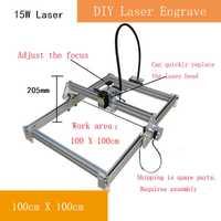 15 W DIY grabado láser máquina de corte CNC marca en metal 100 cm 100 área de trabajo grande