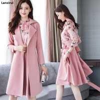 Hiver printemps femmes vêtements floraux 3 pièces ensemble femmes laine manteau en mousseline de soie chemise jupe trois pièces de haute qualité bureau costume