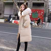 Cuello de piel grande 2018 chaqueta de invierno mujeres más tamaño largo Parkas espesar sólido con capucha femenina delgada de algodón acolchado