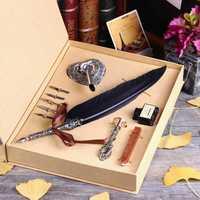 Caja de regalo Vintage Harry Potter Metal Natural curva Cisne pluma conjunto con 5 puntas, portalápices, cera, sello Nombre, Quil