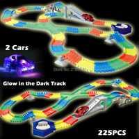 225 piezas ranura resplandor en la oscuridad la pista crear una curva del camino pistas flexibles con 2 piezas LED luz hasta coches juguetes educativos