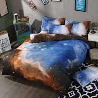 TUTUBIRD-novedad Luna estrellas galaxia edredón cubierta 3d impresión espacio exterior juegos de cama 3 piezas funda de almohada reina doble rey tamaño