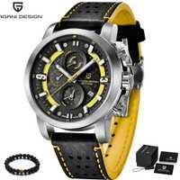 Reloj de cuarzo de lujo de marca de diseño PAGANI, reloj deportivo de cuero genuino para hombre, reloj de pulsera amarillo plateado, reloj para hombre 2018
