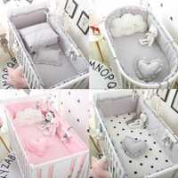 5 piezas de algodón respirable sólido bebé cuna de colisión Protector recién nacido cama rodeado de raíles de seguridad ropa de cama suministros
