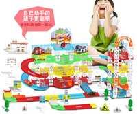 Gran rompecabezas para niños ensamblado DIY simulación del modelo de estacionamiento de tres niveles de juguetes para niños