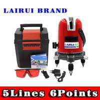 LAIRUI 5 líneas 6 puntos nivel láser 360 Vertical y Horizontal línea láser transversal nivelación modo exterior y función de inclinación Slash