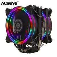 ALSEYE H120D CPU Refroidisseur RGB Ventilateur 120mm PWM 4 Broches 6 Caloducs Refroidisseur pour LGA 775 115x1366 2011 AM2 + AM3 + AM4