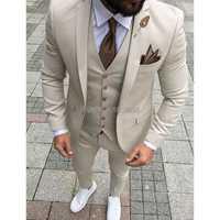 Trajes para hombre Beige 2018 tres piezas chaqueta pantalones chaleco personalizado ajustado Fit Blazer hombre boda novio esmoquin