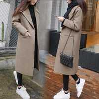 Invierno lana mezclas mujeres de la capa delgada larga espesar abrigo de lana caliente más tamaño 2XL
