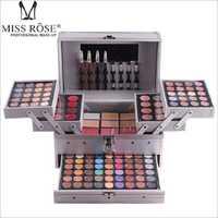 Entrega Express DE LA srta. Rose maquillaje cosmético profesional en caja de aluminio de tres capas con brillo de sombra de ojos de brillo de labios Blush