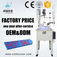 30 litros con camisa único reactor químico con doble bobina condensador con PTFE/Teflon agitador deflector de mezcla/calor /reacción/disti