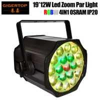 Envío gratuito TP-P84 19x12 W Zoom RGBW 4IN1 etapa Led Par iluminación Dual integrado aparejo yugo/soporte de suelo enlazables de Con