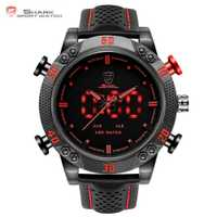 Kitefin SHARK Reloj Deportivo Negro Rojo Analógico Digital Cuero Doble Zone Horaria LED monitor Movimiento de Cuarzo Alarma Impermeable reloj pulsera de para hombre / SH261