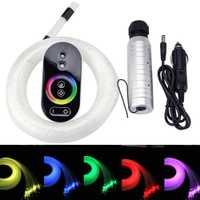 Voiture utilisation DC12V 6W RGB en plastique Fiber optique étoile plafond Kit lumière 100 pièces/150 pièces/200 pièces 0.75mm 2M + Touch télécommande