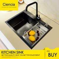 Envío Gratis Ciencia de acero inoxidable negro solo Undermount fregadero de la cocina con grifo de la cocina no pegajoso aceite de cocina