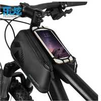 ROSWHEEL resistente al agua ciclismo negro bicicleta bolsa de tubo superior 1680D bicicleta Front Frame bolsa Pannier para 4- 6,7 pulgadas