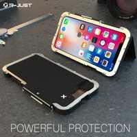 R-Just Flip funda para iPhone X 10 ten King Iron Man acero inoxidable aluminio Anti-golpe teléfono cubierta de la cáscara de la protección