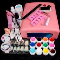 Pro 36 W UV GEL Lámpara Rosada y 12 Colores de Uñas de Gel UV arte Herramientas Sets Kits de Uñas de Gel Nails & Herramientas de Uñas Kit de Uñas # N308