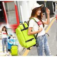 Las mujeres bolsas de viaje Trolley mochila ruedas bolsa de equipaje Multi-función Trolley bolsa de moda equipaje rodante maleta luz maletero