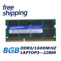 KEMBONA DDR3 Ram 1600 MHz 8 GB 1,35 V PC3L para portátil/ordenador portátil Sodimm Memoria Compatible con 1333 MHz 1066 MHz soporte de doble canal
