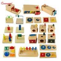 Montessori sensoriel définit des jouets éducatifs pour bébés en bas âge boîte conseil Puzzles enseignement bois jeu et jouets préscolaire maison SES02-3