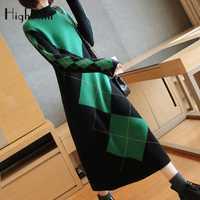 HighKnit de manga larga de cuello alto suéter largo vestido Plaid vestido de otoño vestido de invierno Vintage elegante gris verde Vestido de punto