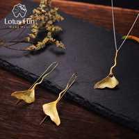 Lotus Real 925 plata esterlina Natural Lapis joyería fina 18 K oro de la joyería de la hoja con pendiente colgante collar