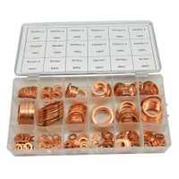 350 unids 18 tamaños métrica plana de cobre arandela anillo juntas surtido surtido Set Kit