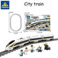 Original KAZI 98228 98229 train électrique alimenté par batterie avec train de piste enfants assemblés blocs de construction jouets pour enfants