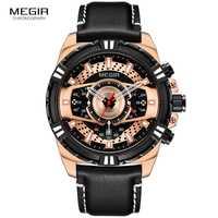 Reloj Megir relojes para hombre marca de lujo zapatos casuales de cuero reloj de cuarzo Hombre Deporte impermeable reloj de oro reloj hombres reloj Masculino