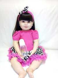Silicona reborn bebés muñecas Rosa rojo vestido vinilo bebé muñecas 61 cm impresionante juguete regalo del Día de los niños para la novia la madre de los niños